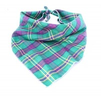 ​Green & Purple Plaid Bandana size S/M