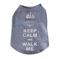 Keep calm and walk me Tshirt Size Large 12""