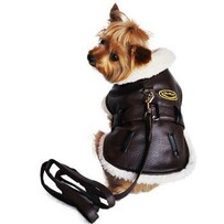 Brown and Black Faux Leather Bomber Dog Coat Harness and Leash size XS