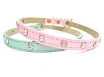 Baby pink diamonte dog collar ideal for tiny dog size medium 11 – 14""