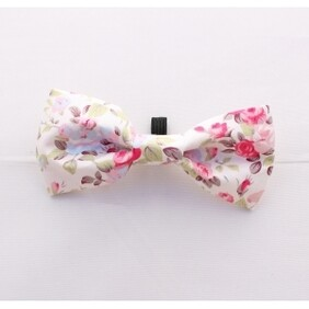 English white rose bow tie handmade