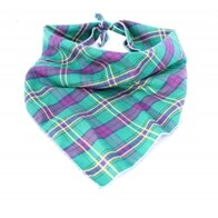 Green and purple plaid bandana size guide medium/large