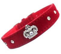 Red Royal Velvet Crown dog Collar Majestic crown size Available in size: 12½ - 14½ ""