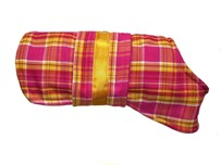 Unique and stylish handmade fleece-lined yellow and raspberry check dog coat - size small