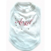Angel Tshirt all pink only available with dark pink crystal - Medium fits yorkie size dog