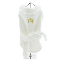 White Gold Crown Cotton Dog Bathrobe size XSmall