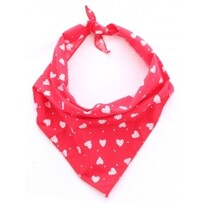 Red Patchwork Hearts Dog Bandana M/L - neck size 17-25""