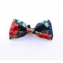 English navy rose bow tie hand made
