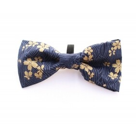 Golden navy mini flower bow tie handmade
